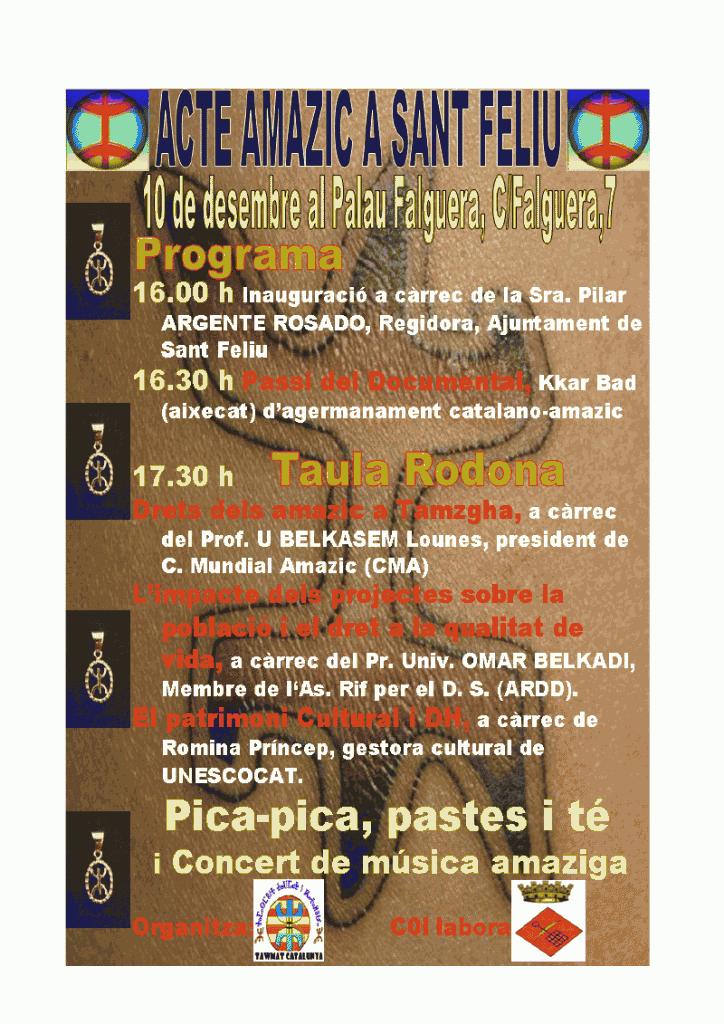 amazigh tamazight saint feliu Colloque à Barcelone: Amazigh et les droits de lHomme