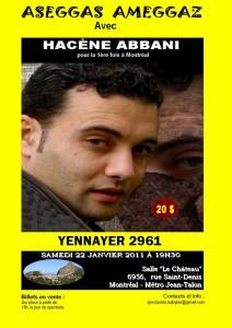 Yennayer 2011 : Hacène Abbani à Montreal