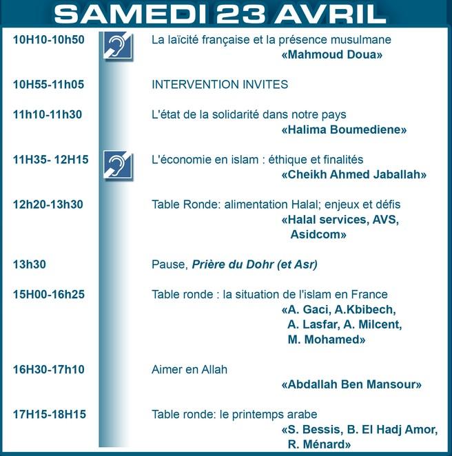 Amazigh :  le salon du Bourget UOIF 2011 :PROGRAMME DU 23 AVRIL