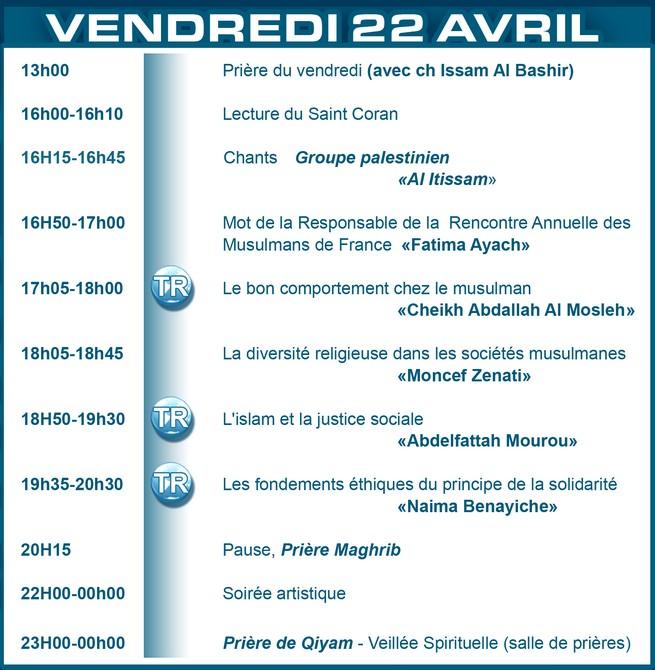 Amazigh :  le salon du Bourget UOIF 2011 :PROGRAMME DU 22 AVRIL