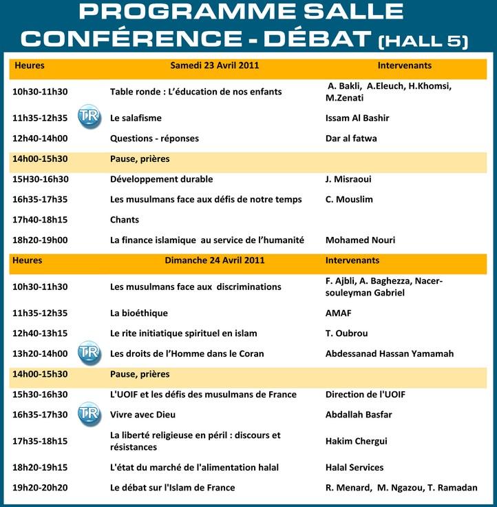 Amazigh :  le salon du Bourget UOIF 2011 :PROGRAMME de la salle des conférences